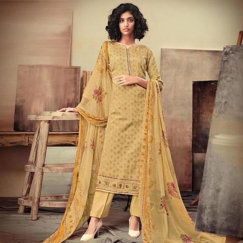 Jazzy Mustard Yellow Colored Casual Printed Cotton Satin Dress Material