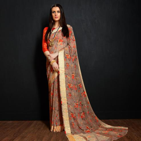 Ideal Classy Gray Colored Casual Printed Viscose Saree