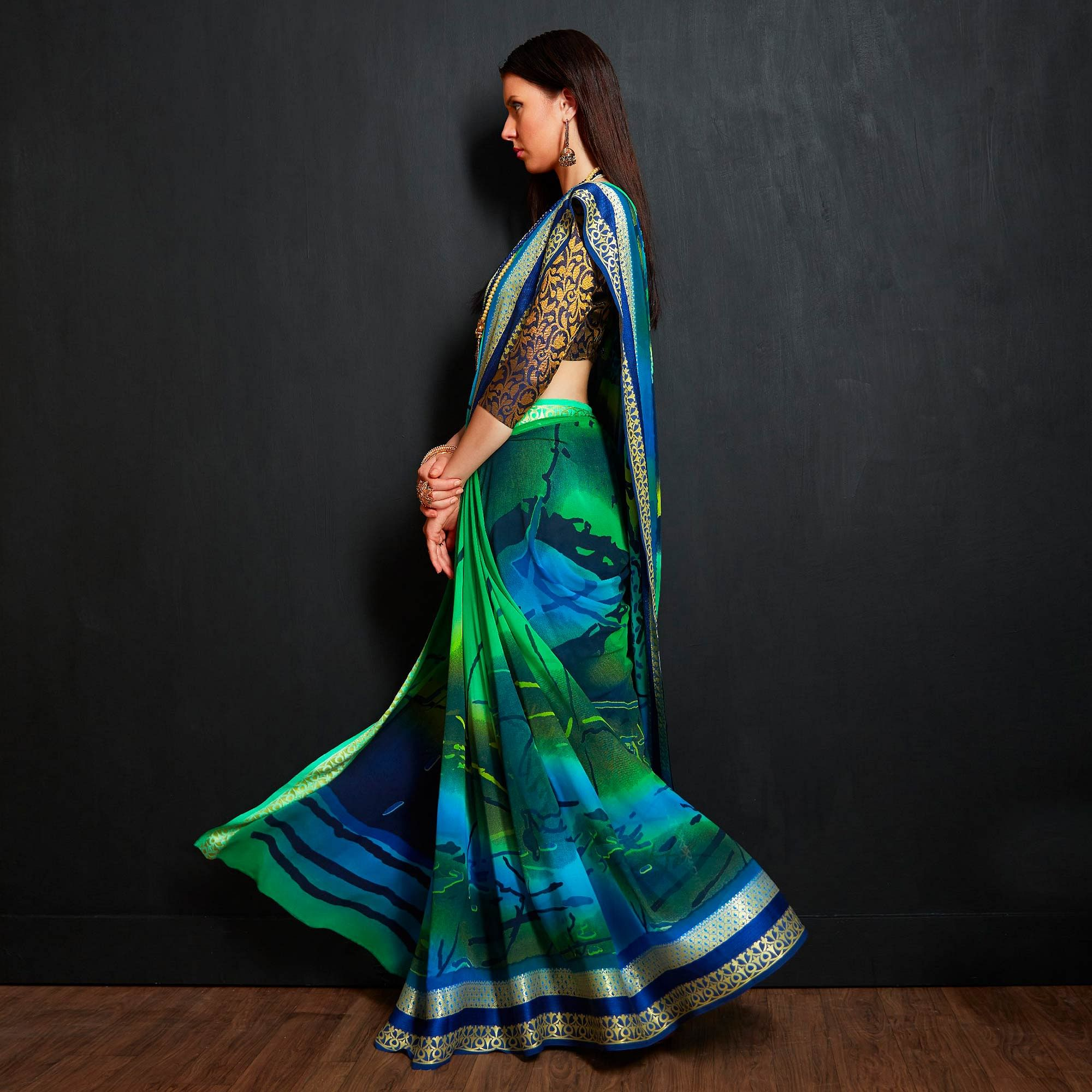 Lovely Green-Blue Colored Casual Printed Viscose Saree