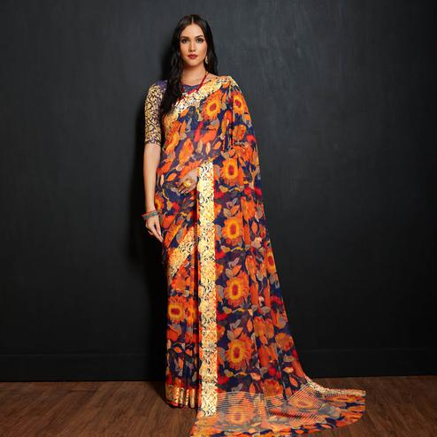 Majesty Orange-Multi Colored Casual Printed Viscose Saree