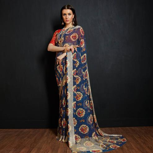 Impressive Blue Colored Casual Printed Viscose Saree