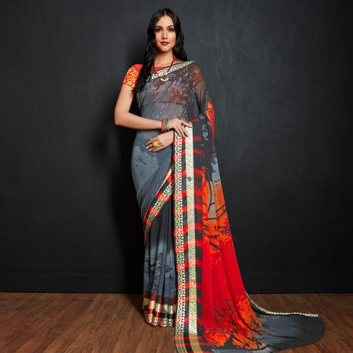 Mesmerising Gray-Multi Colored Casual Printed Viscose Saree