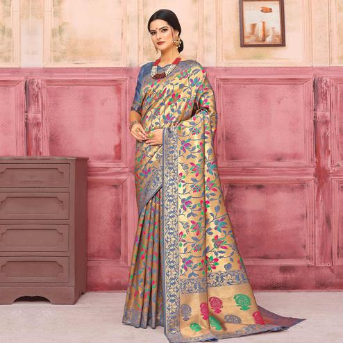 Appealing Golden-Grey Colored Festive Wear Woven Silk Saree