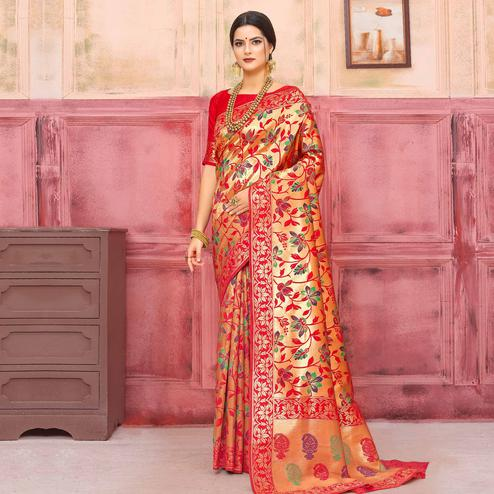 Capricious Golden-Red Colored Festive Wear Woven Silk Saree