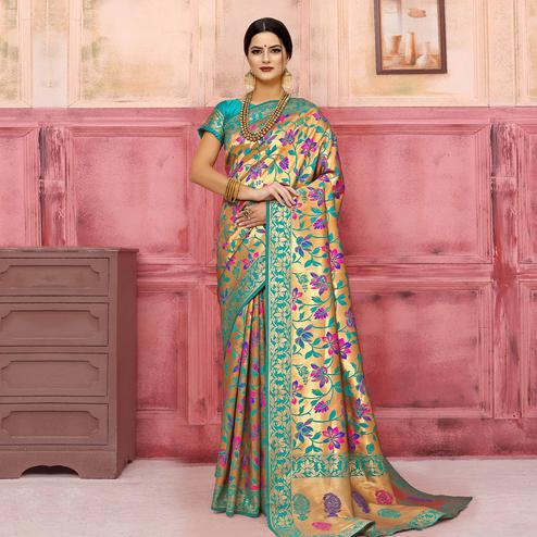 Entrancing Golden-Turquoise Green Colored Festive Wear Woven Silk Saree