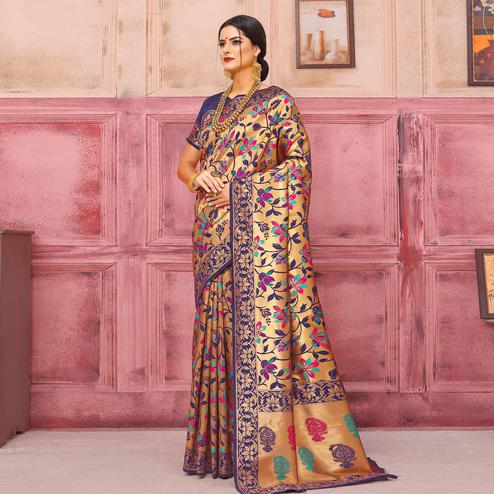 Groovy Golden-Navy Blue Colored Festive Wear Woven Silk Saree