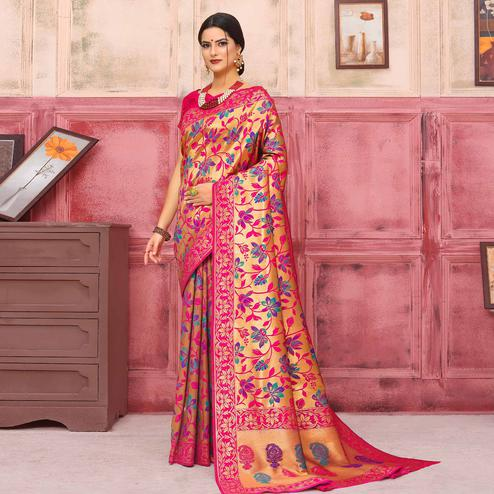 Prominent Golden-Pink Colored Festive Wear Woven Silk Saree
