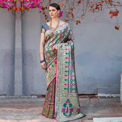 Refreshing Grey Colored Festive Wear Woven Silk Saree