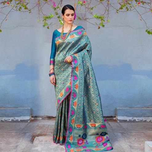 Hypnotic Rama Blue Colored Festive Wear Woven Silk Saree