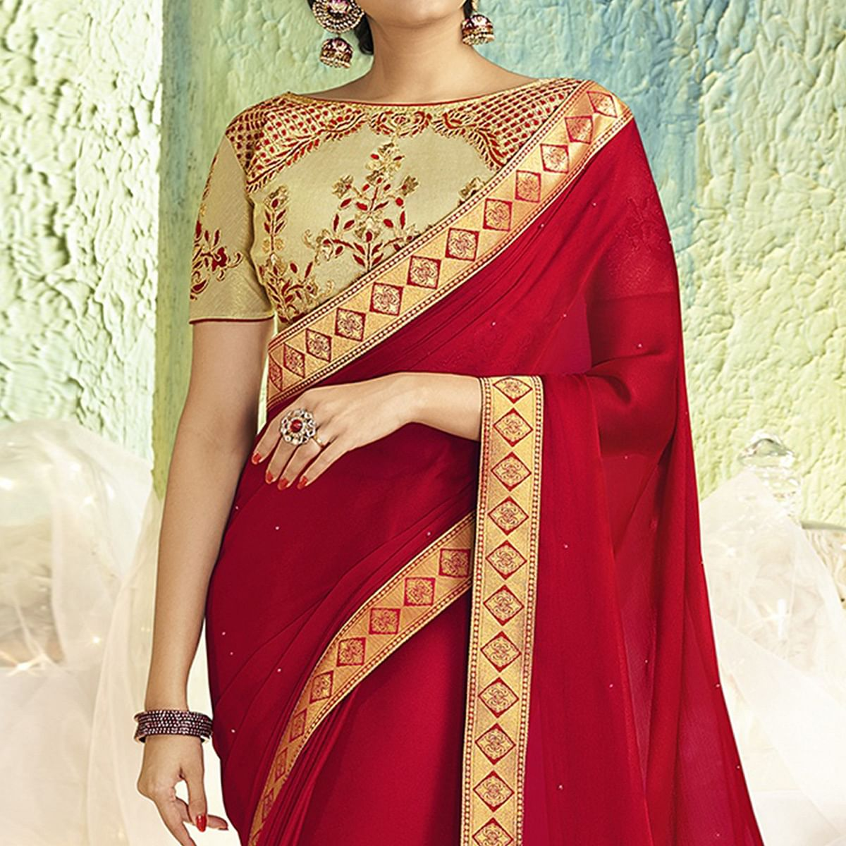 Graceful Red Colored Partywear Chiffon Saree