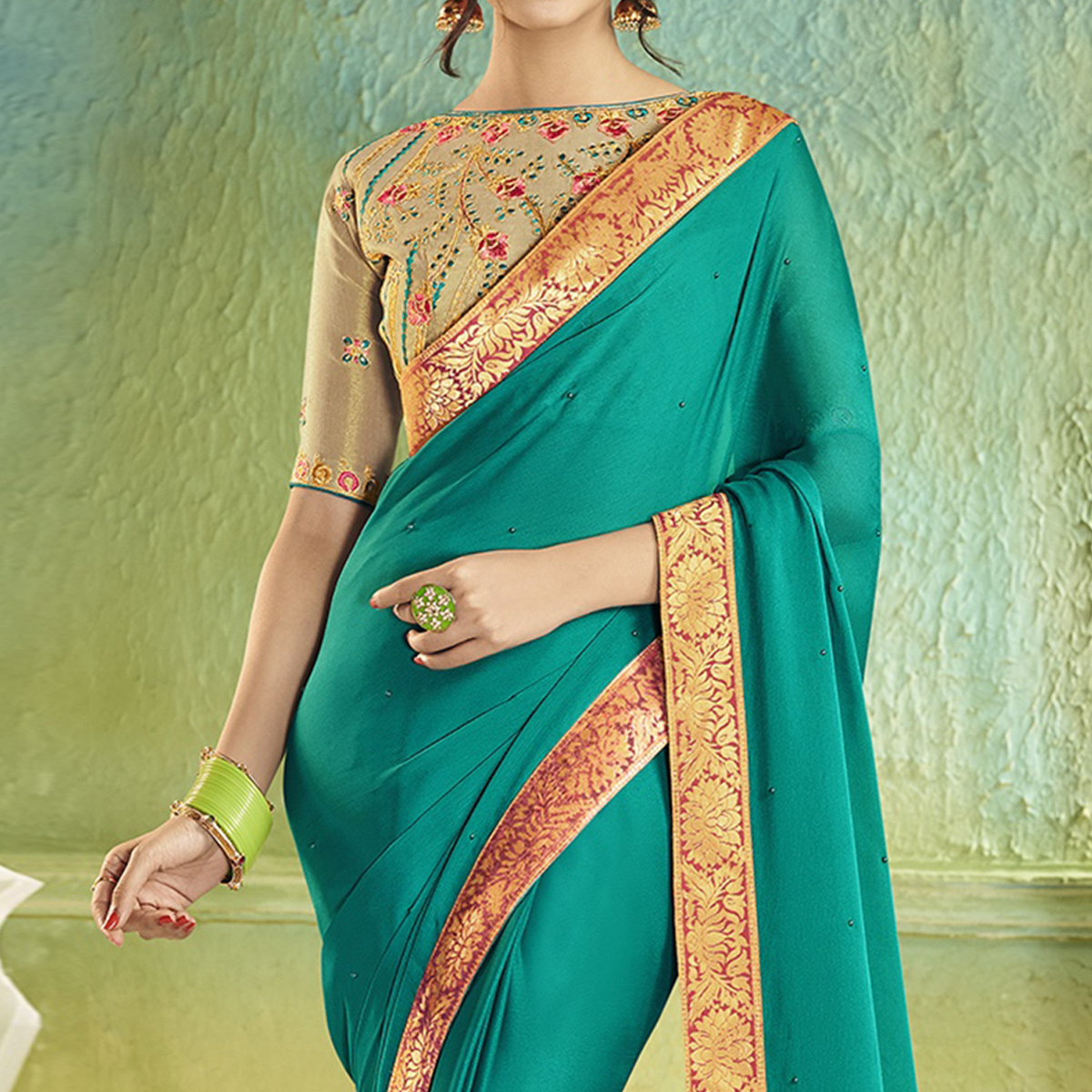 Sophisticated Turquoise Green Colored Partywear Chiffon Saree