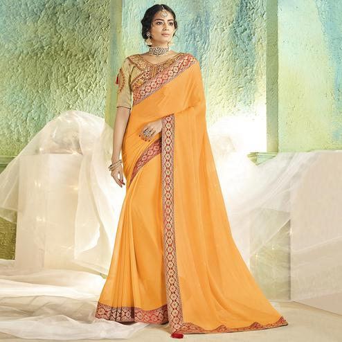 Charming Yellow Colored Partywear Chiffon Saree