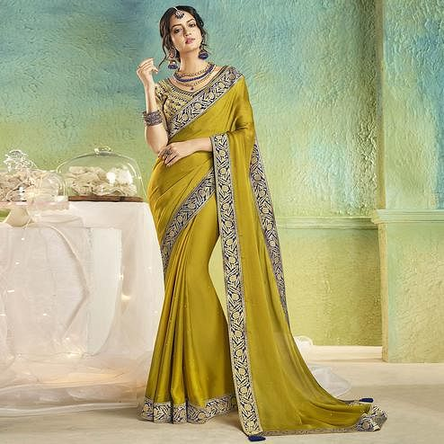 Elegant Olive Green Colored Partywear Chiffon Saree