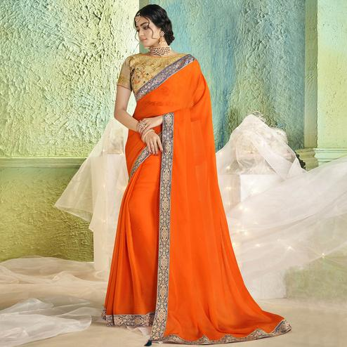 Jazzy Orange Colored Partywear Chiffon Saree
