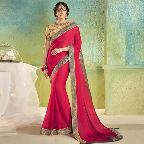 Pleasant Pink Colored Partywear Chiffon Saree