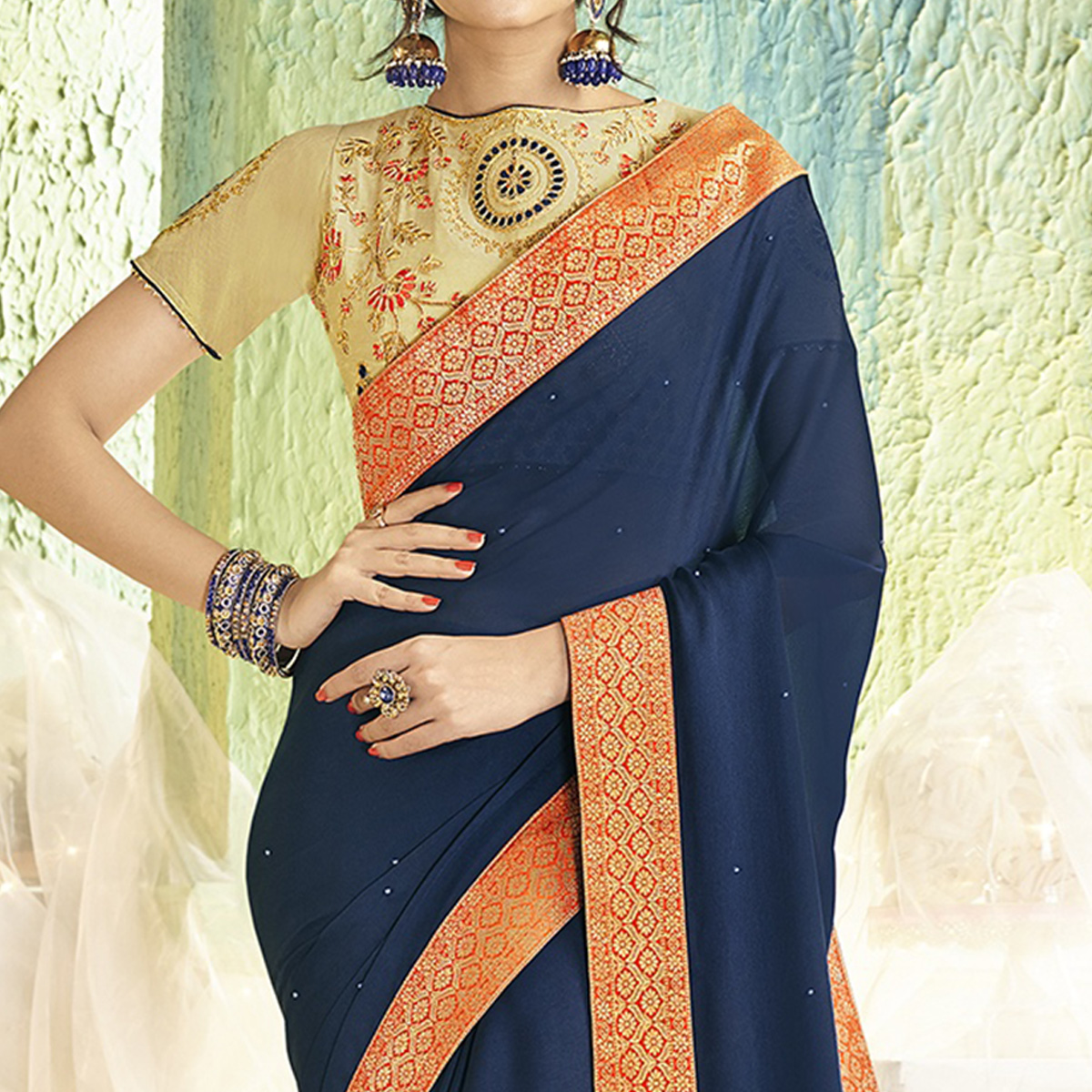 Engrossing Navy Blue Colored Partywear Chiffon Saree
