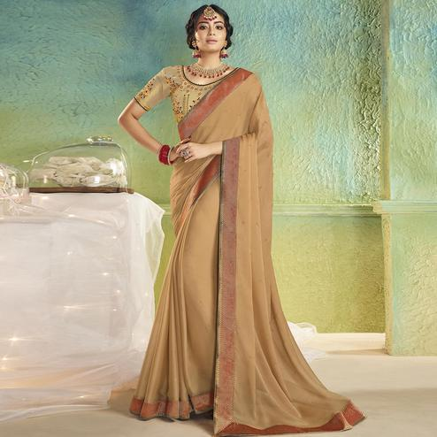 Energetic Chiku Colored Partywear Chiffon Saree