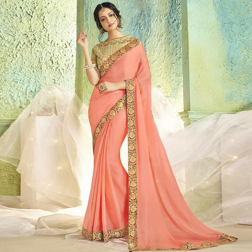 Glowing Peach Colored Partywear Chiffon Saree