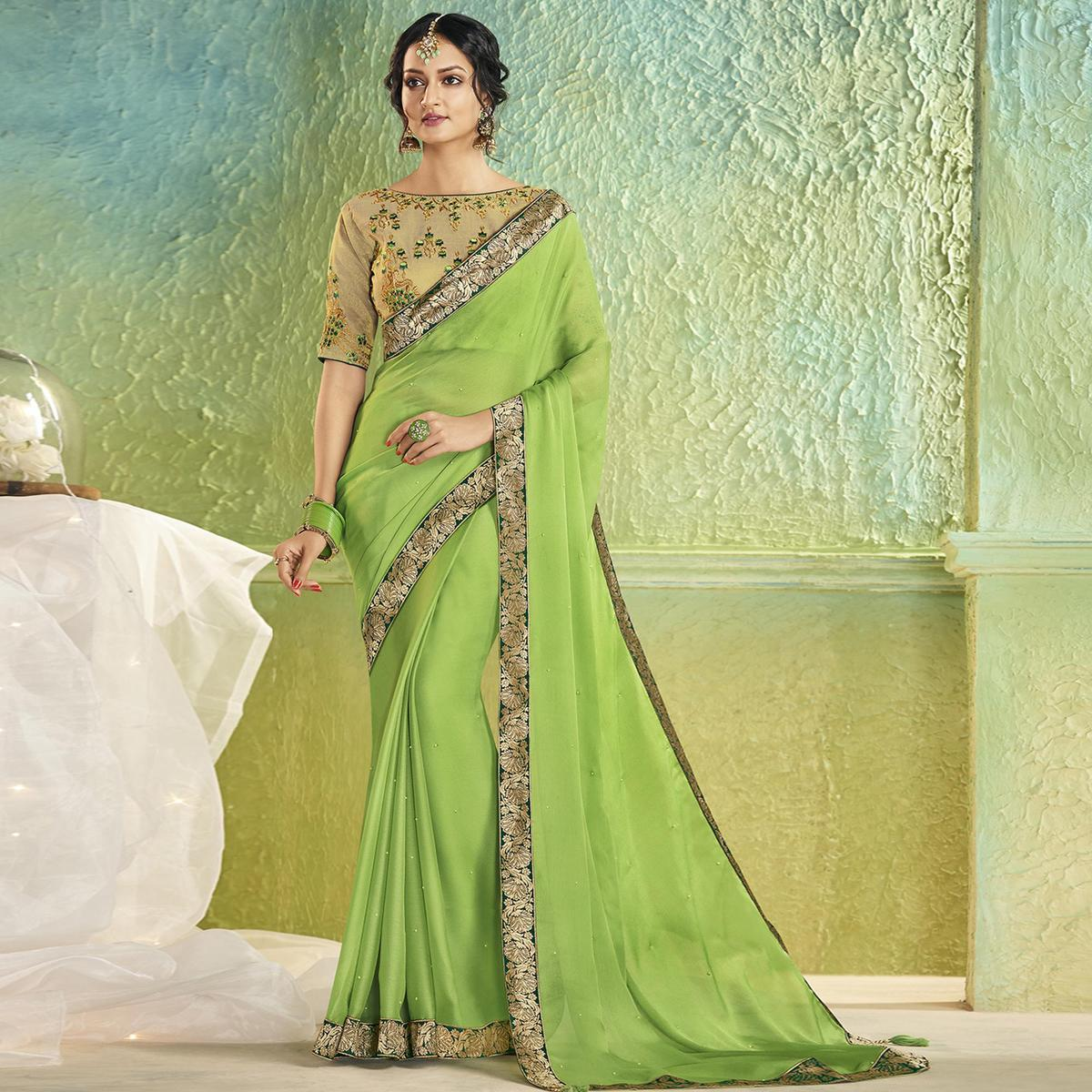 Gleaming Green Colored Partywear Chiffon Saree