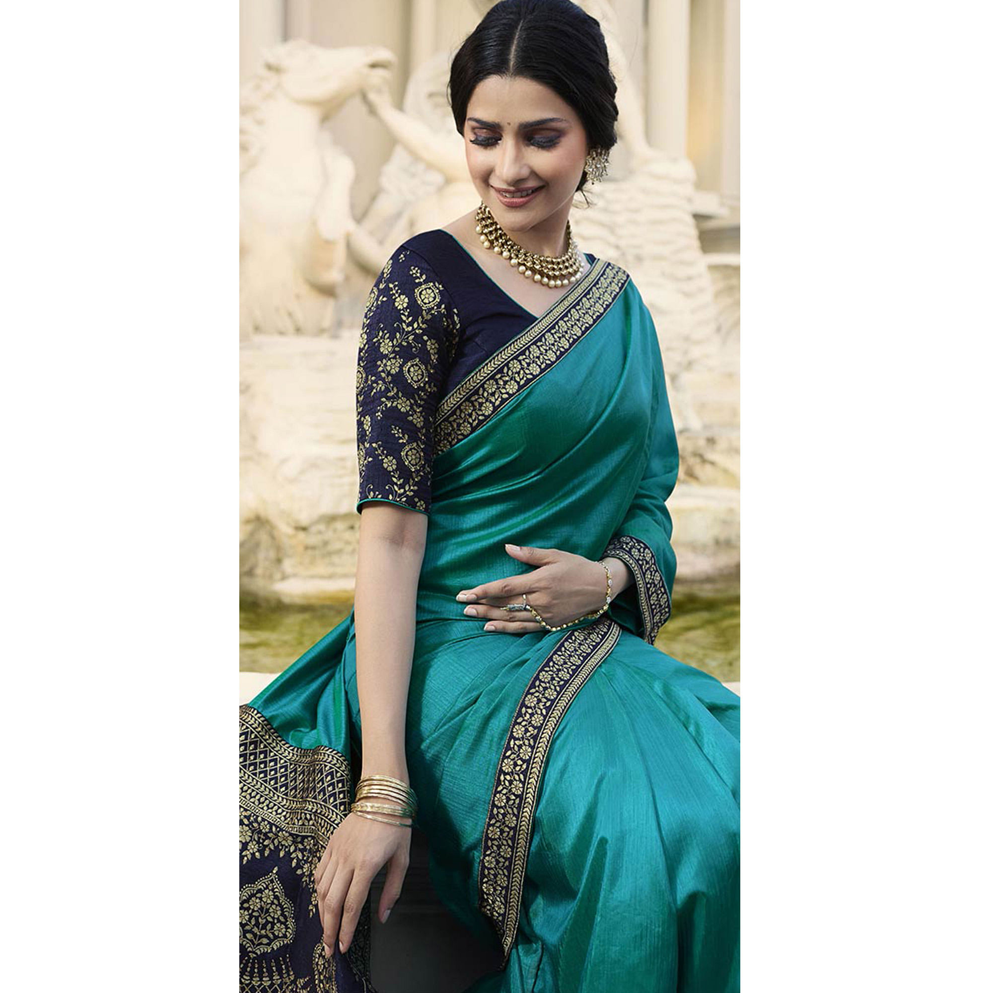 Innovative Rama Blue Colored Partywear Embroidered Silk Saree