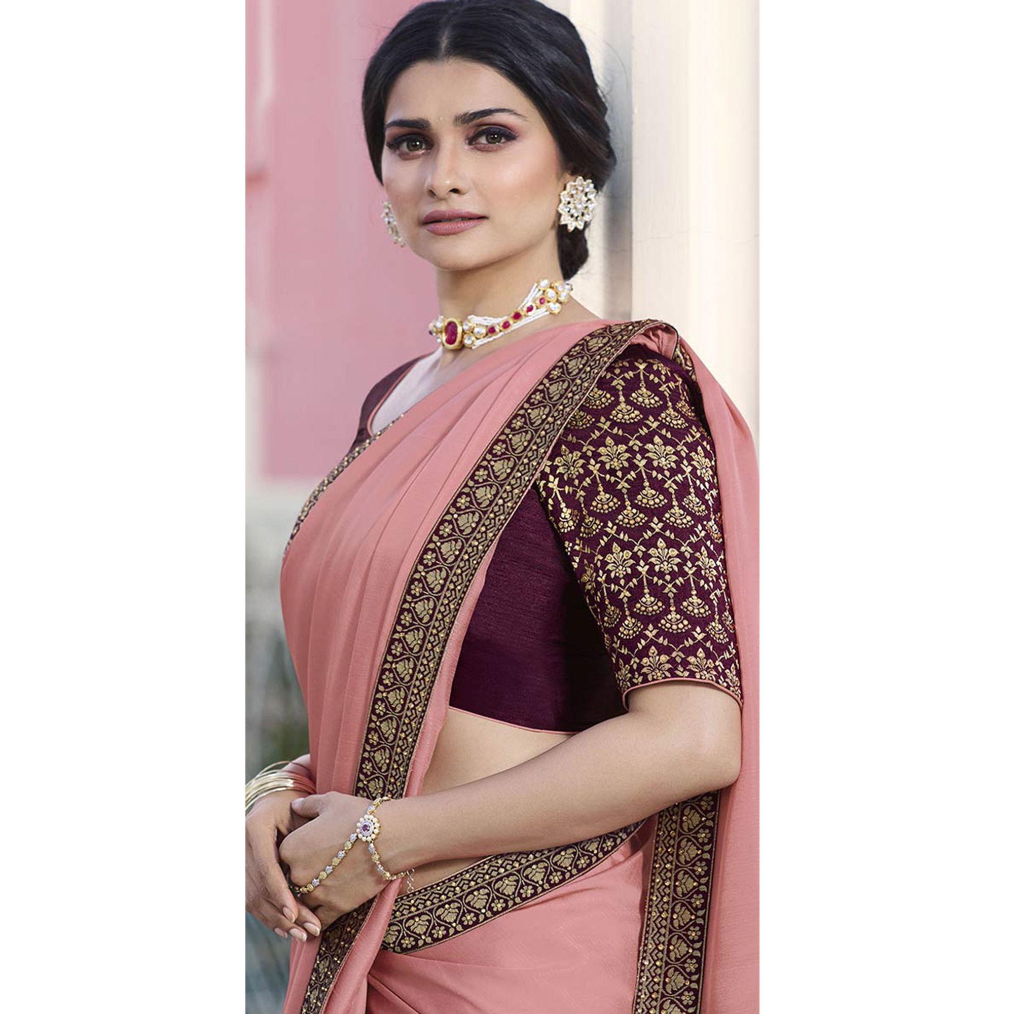 Eye-catching Pink Colored Partywear Embroidered Silk Saree