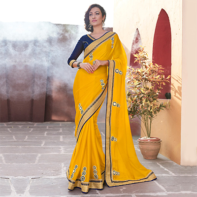 Yellow Satin Chiffon Embroidered Saree