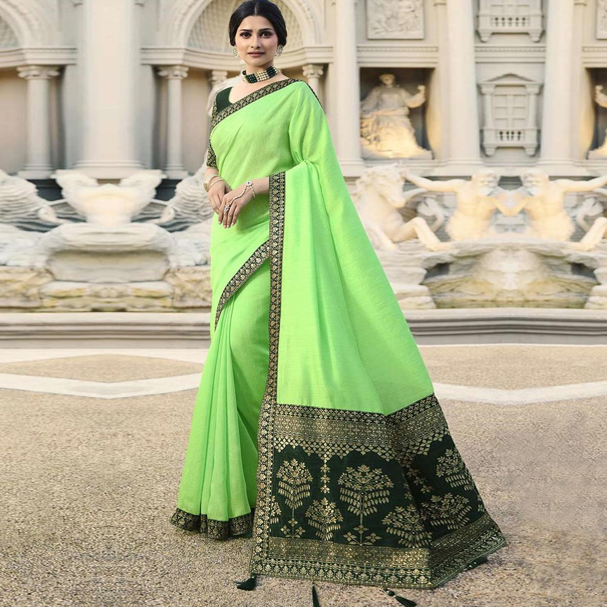 Fantastic Bright Green Colored Partywear Embroidered Silk Saree