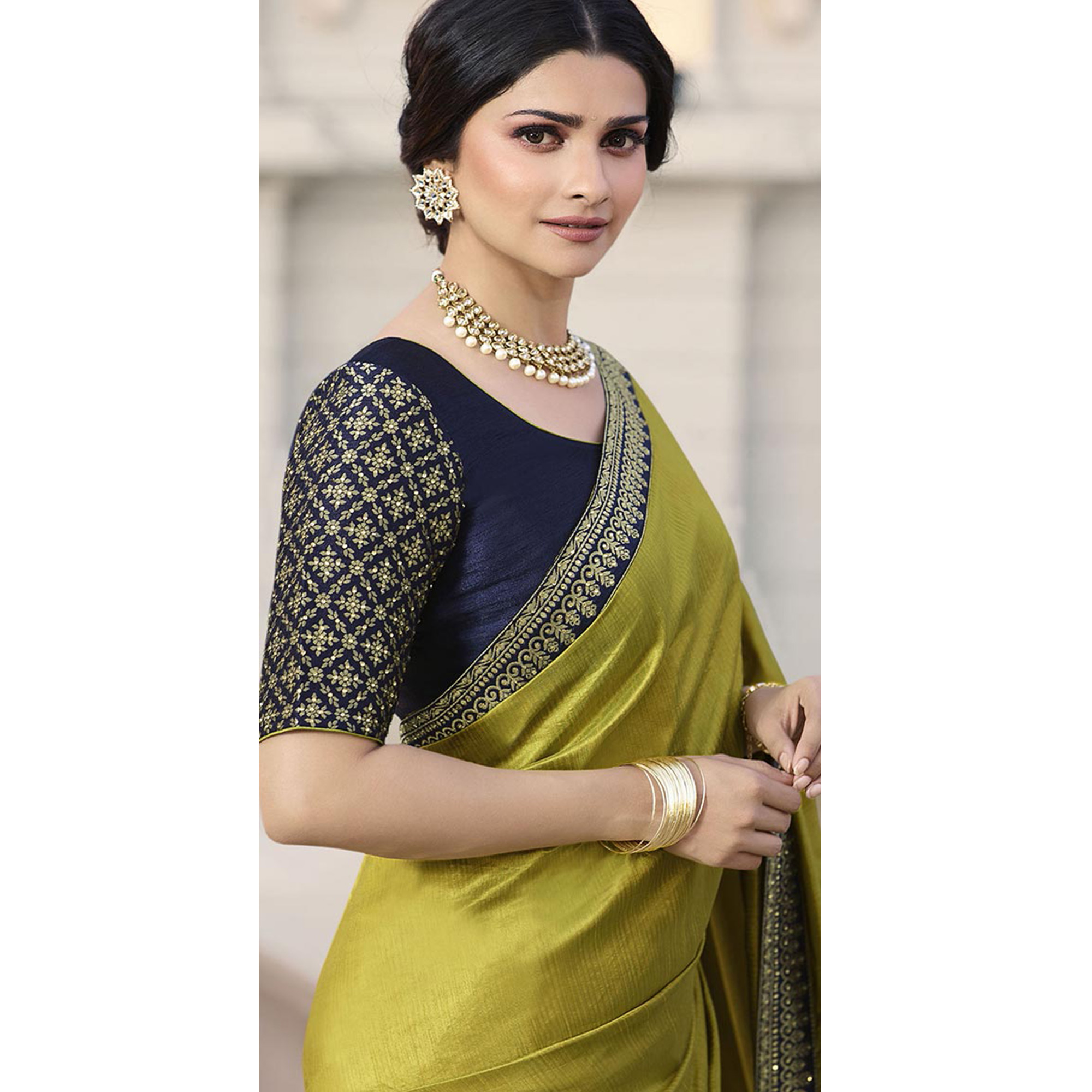 Gorgeous Lime Green Colored Partywear Embroidered Silk Saree