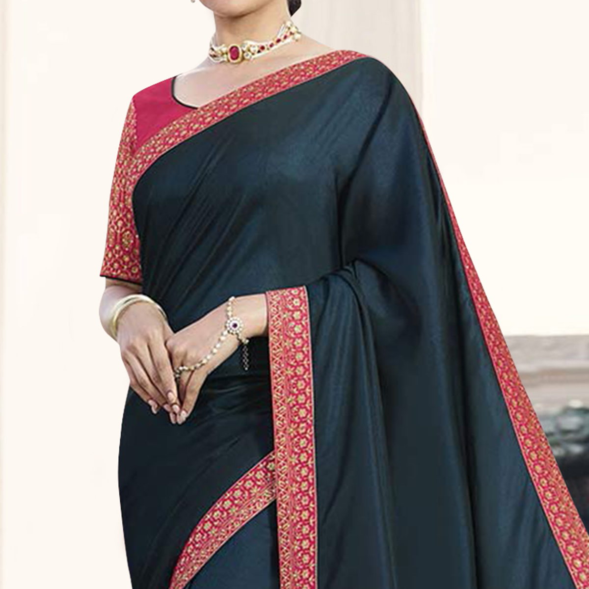 Amazing Teal Green Colored Partywear Embroidered Silk Saree