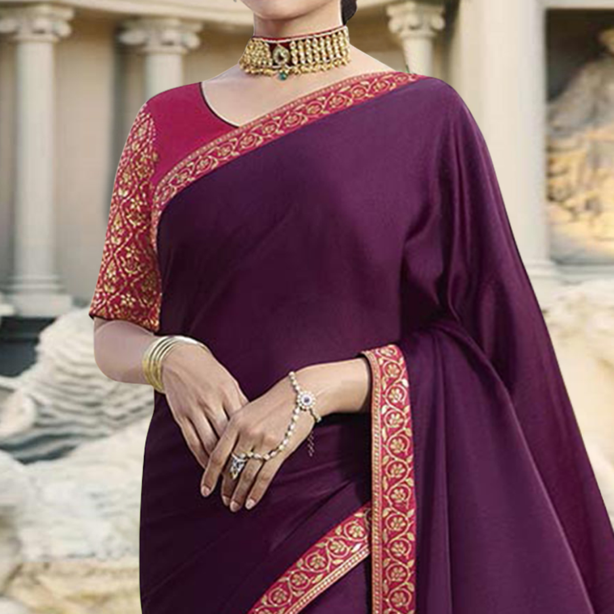 Engrossing Purple Colored Partywear Embroidered Silk Saree