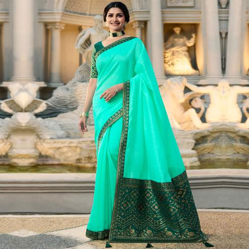 Captivating Florence Aqua Green Colored Partywear Embroidered Silk Saree