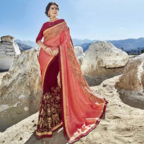 Elegant Pink-Maroon Colored Party Wear Embroidered Georgette Saree