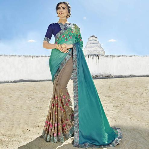 Exotic Teal Blue-Grey Color Party Wear Embroidered Georgette Saree