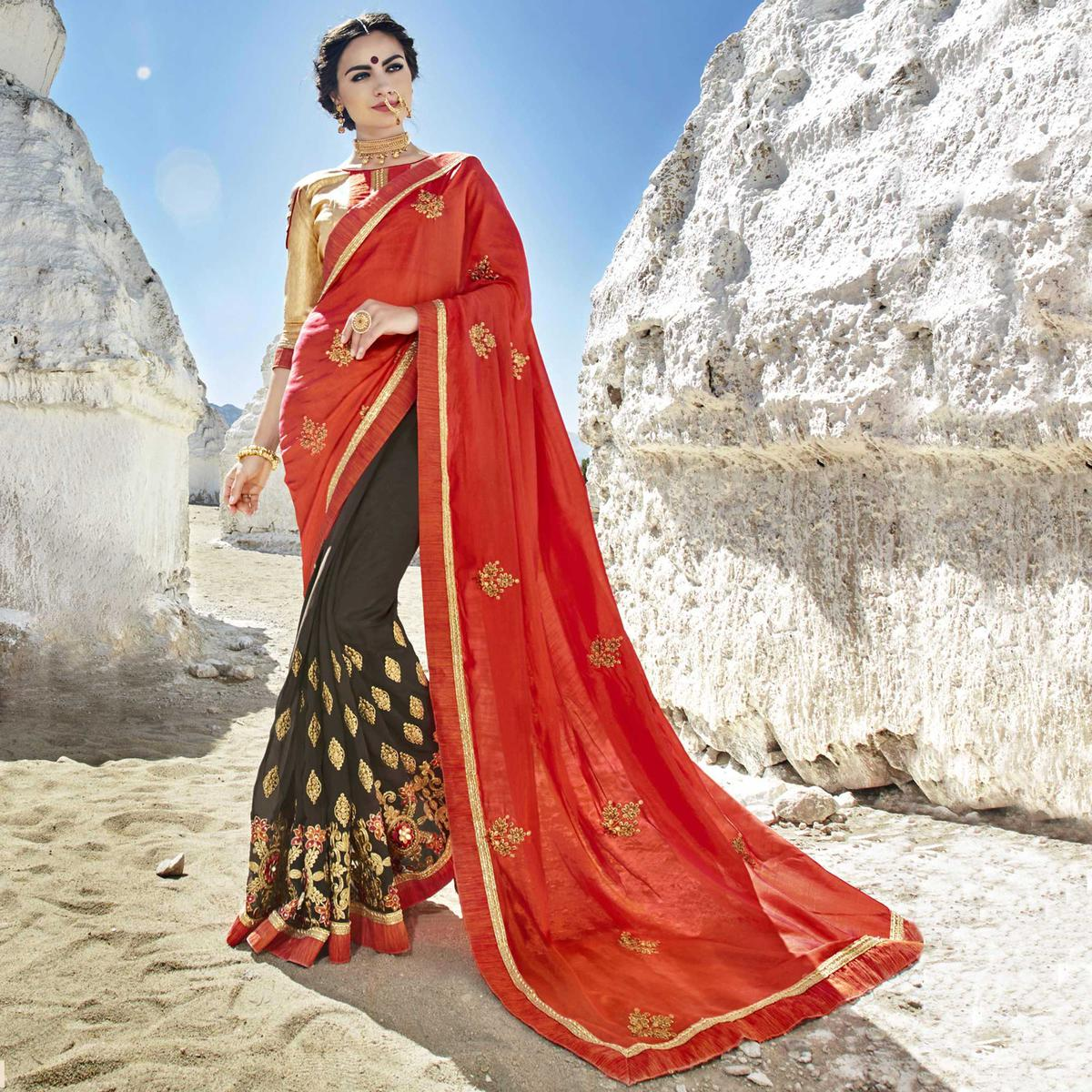 Groovy Orange-Grey Colored Party Wear Embroidered Georgette Saree