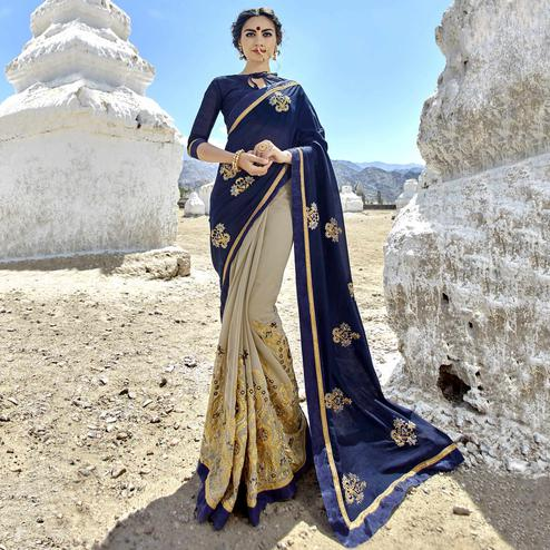 Ravishing Navy Blue-Light Grey Colored Party Wear Embroidered Georgette Saree