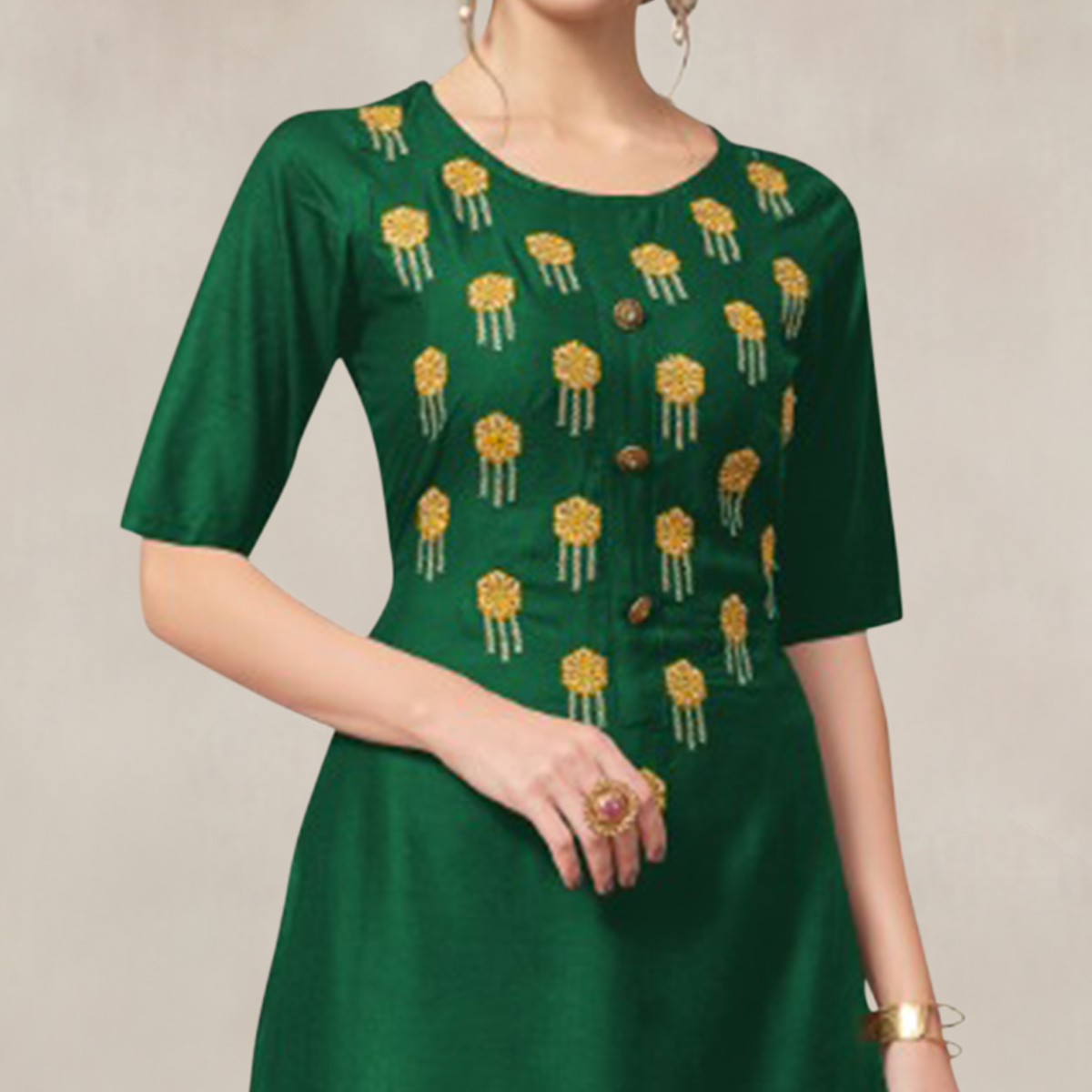 Intricate Green Colored Partywear Embroidered Rayon Kurti-Palazzo Set