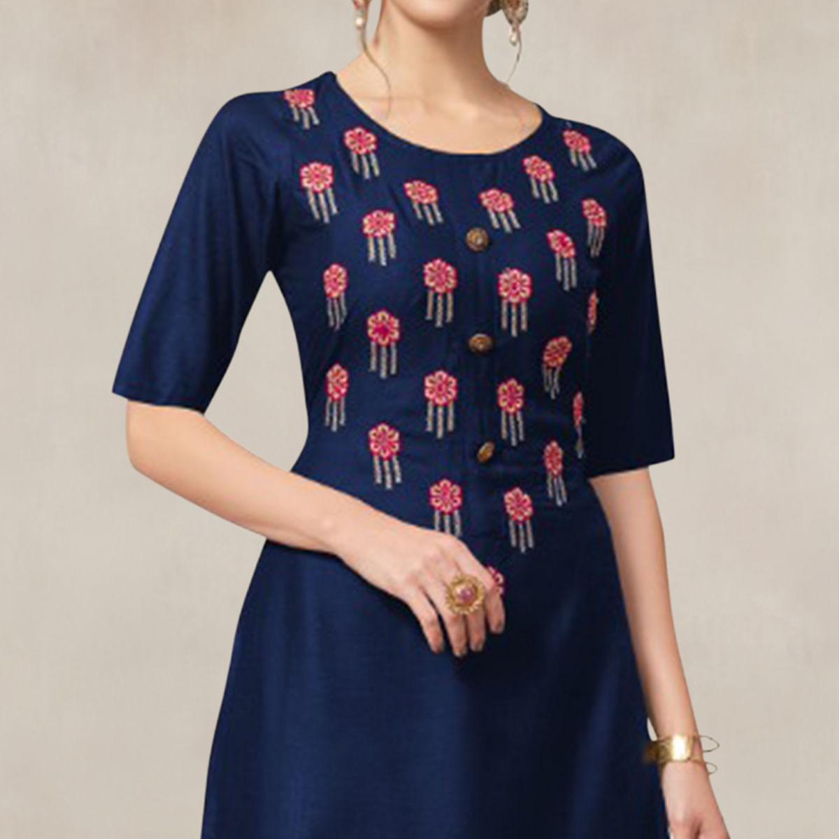 Arresting Navy Blue Colored Partywear Embroidered Rayon Kurti-Palazzo Set