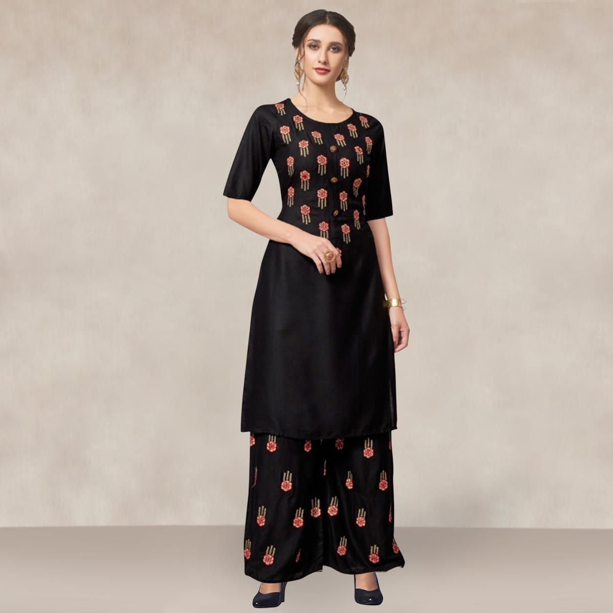 Desirable Black Colored Partywear Embroidered Rayon Kurti-Palazzo Set