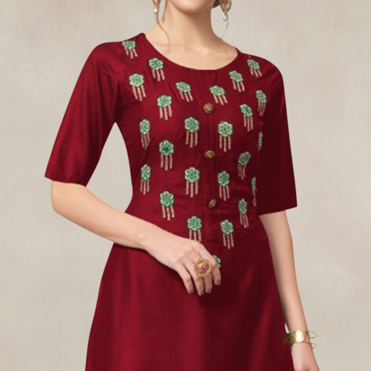 Exotic Maroon Colored Partywear Embroidered Rayon Kurti-Palazzo Set