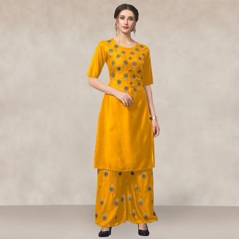 Sophisticated Yellow Colored Partywear Embroidered Rayon Kurti-Palazzo Set