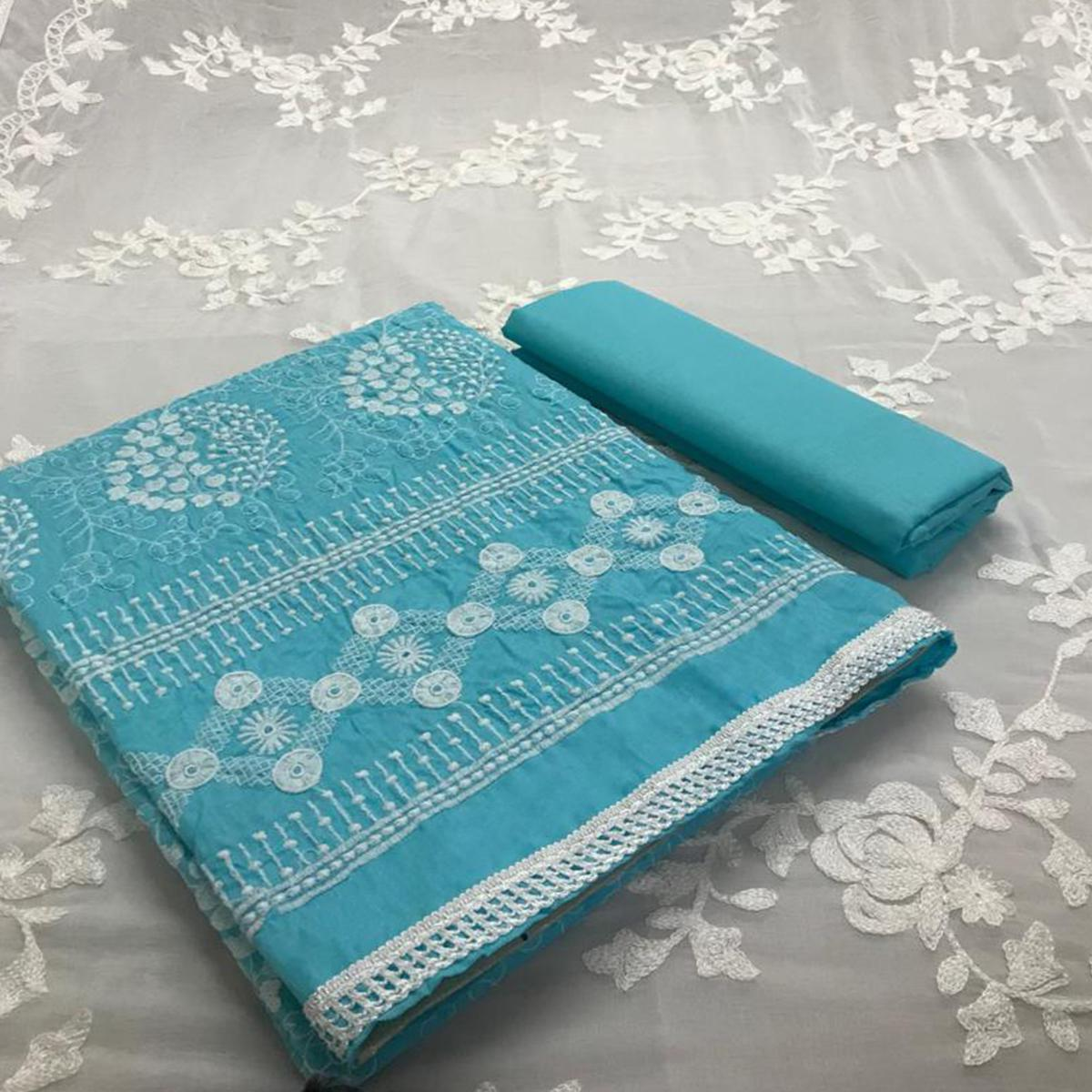 Radiant Blue Colored Partywear Embroidered Cotton Dress Material
