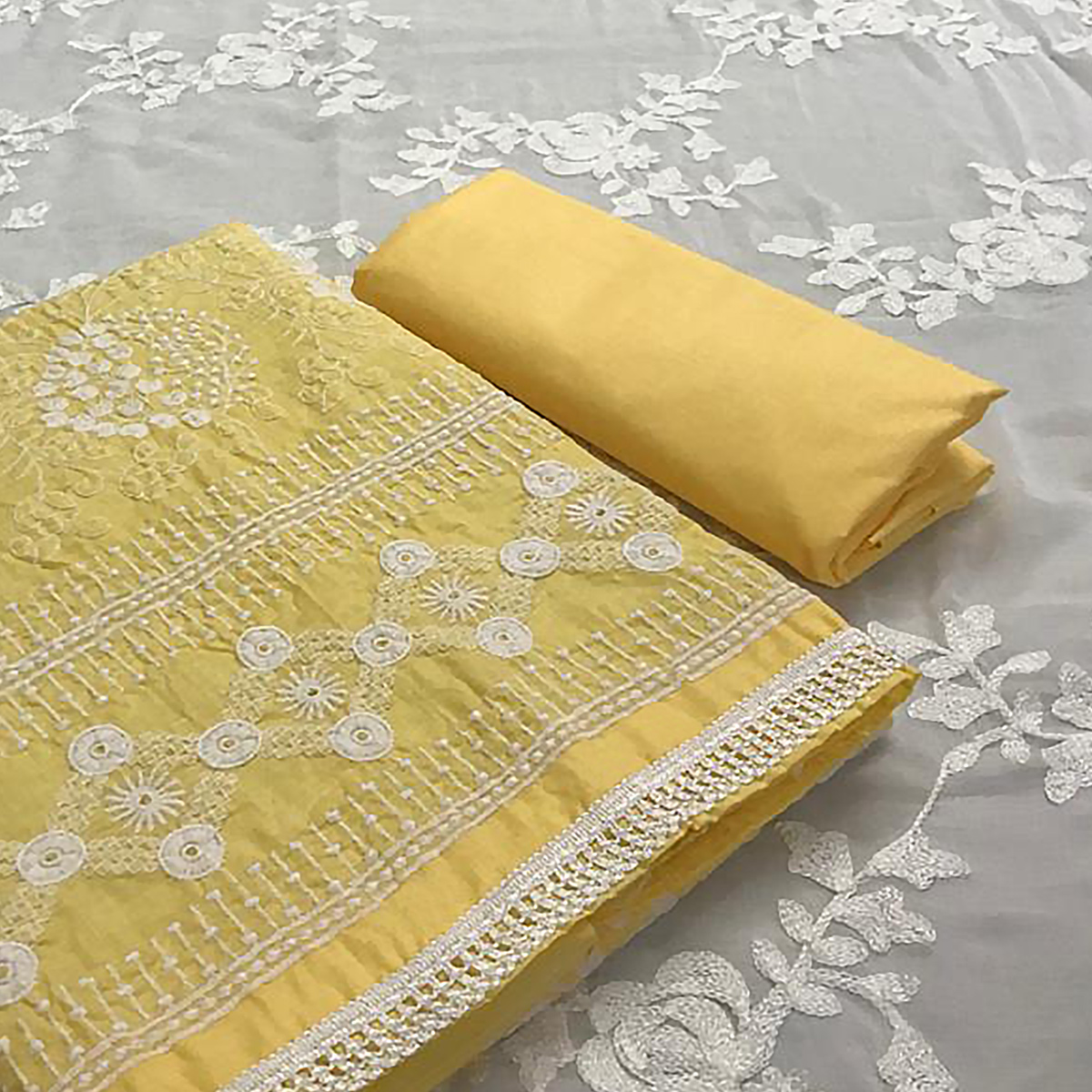 Opulent Yellow Colored Partywear Embroidered Cotton Dress Material