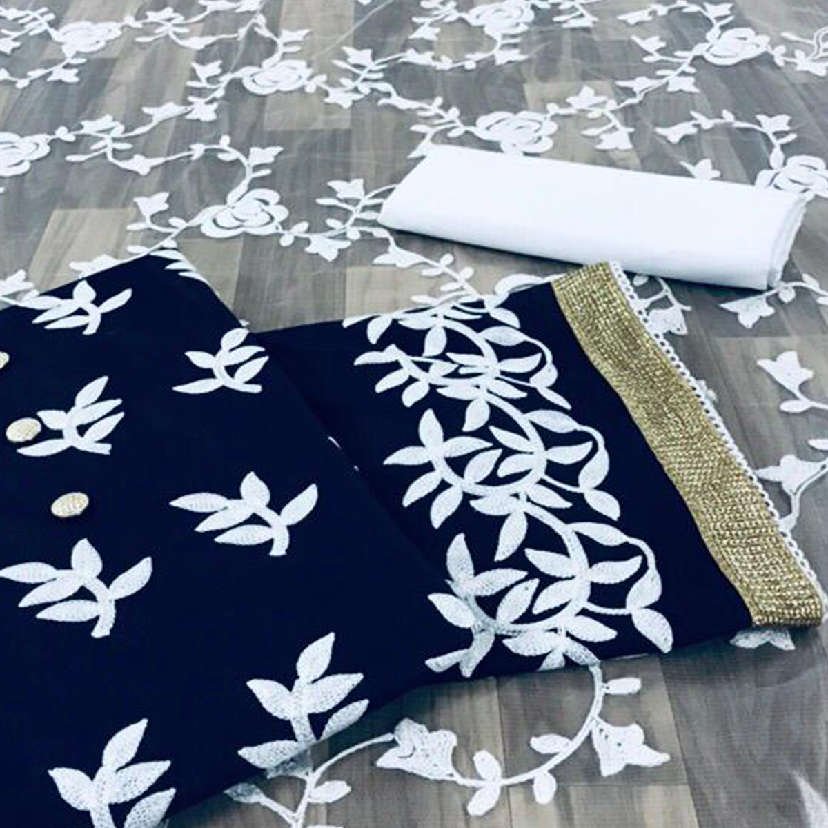 Energetic Navy Blue Colored Partywear Embroidered Cotton Dress Material