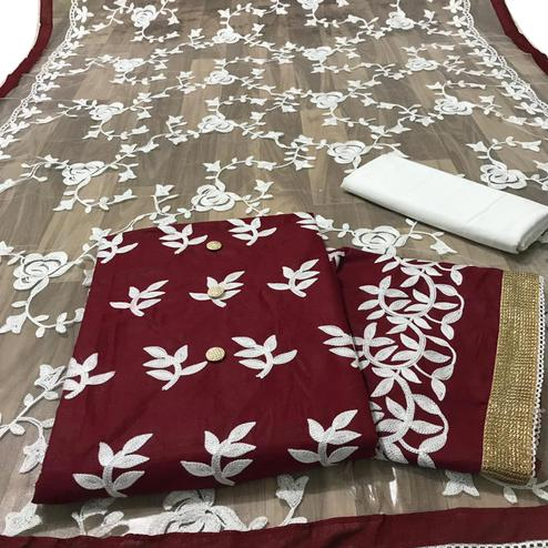 Gleaming Maroon Colored Partywear Embroidered Cotton Dress Material