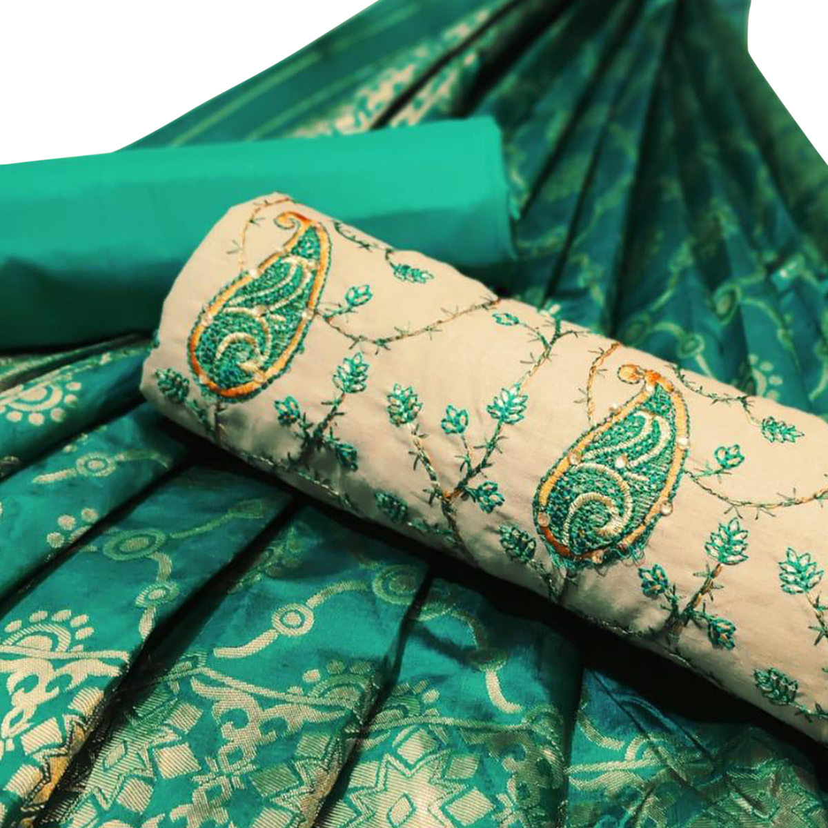 Mesmeric Beige-Green Colored Partywear Embroidered Cotton Dress Material
