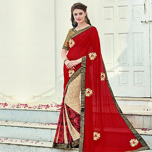 Red - Cream Party Wear Half Saree