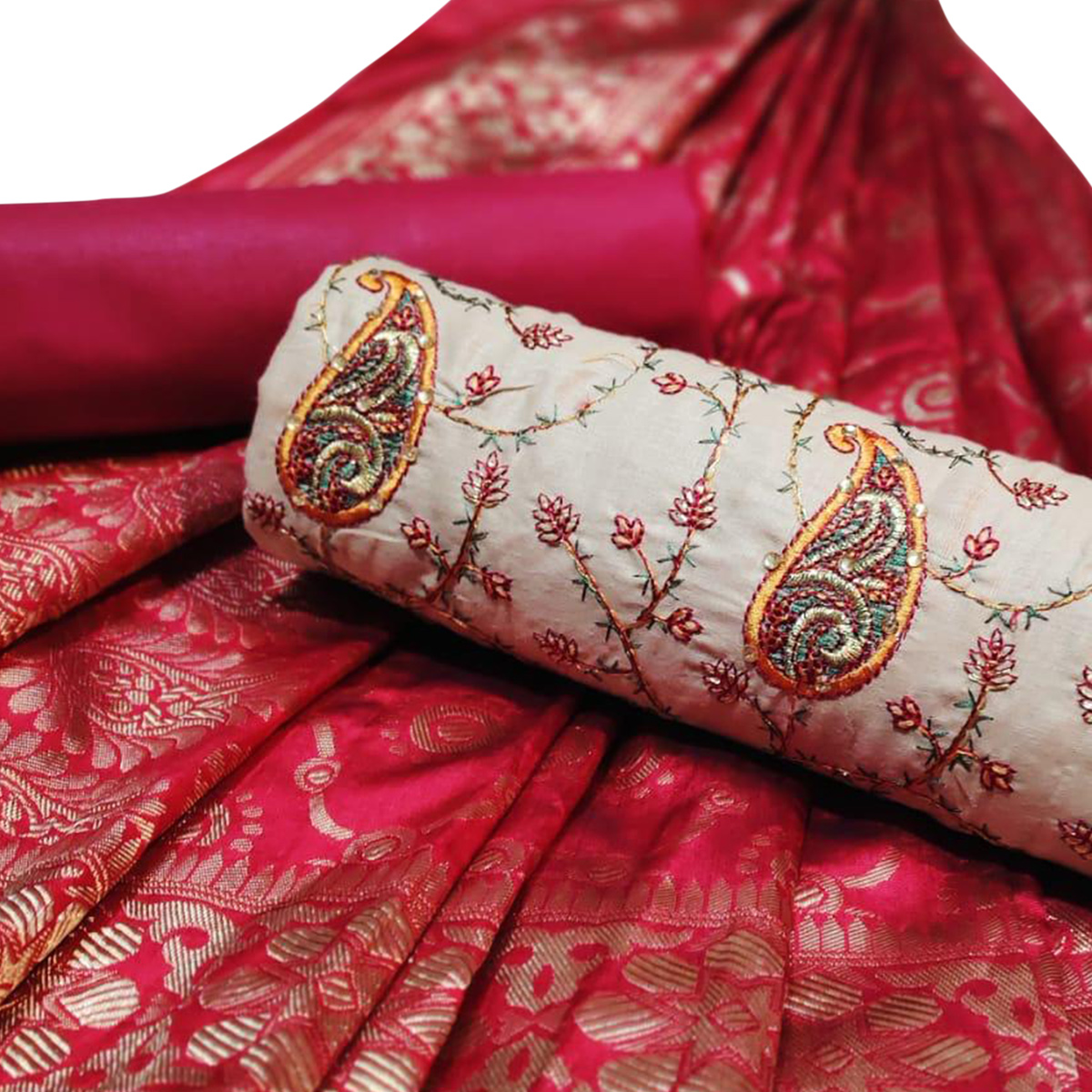 Unique Beige-Maroon Colored Partywear Embroidered Cotton Dress Material