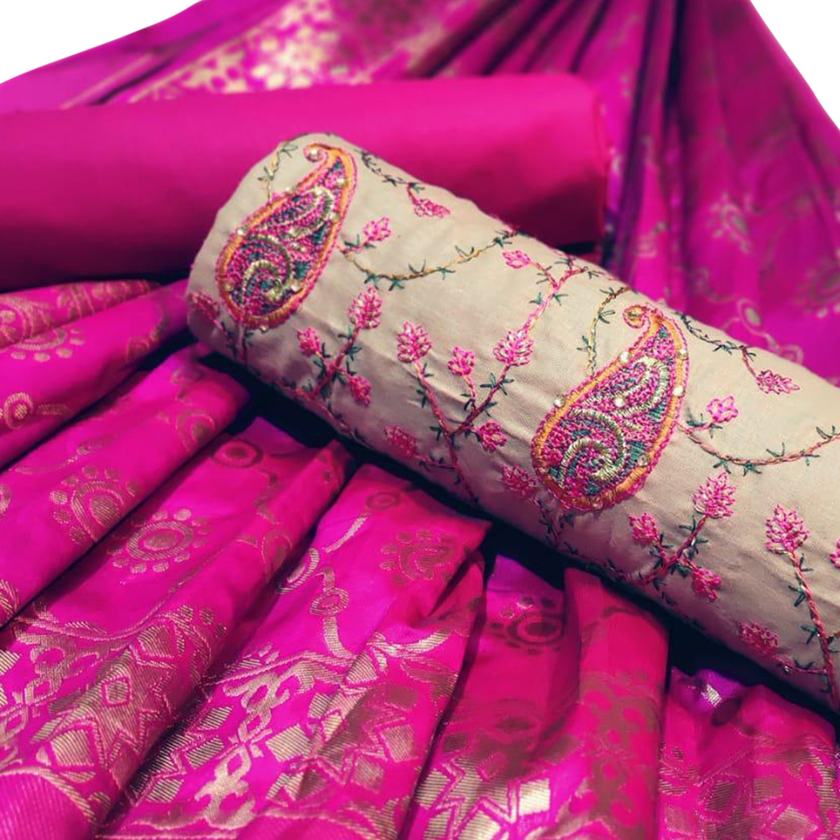 Refreshing Beige-Pink Colored Partywear Embroidered Cotton Dress Material