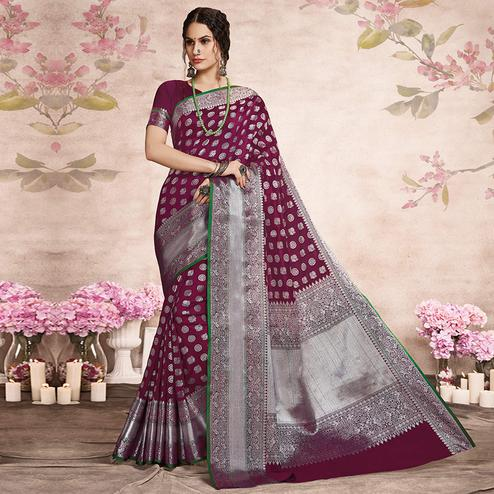 Sensational Deep Magenta Pink Colored Festive Wear Woven Silk Saree