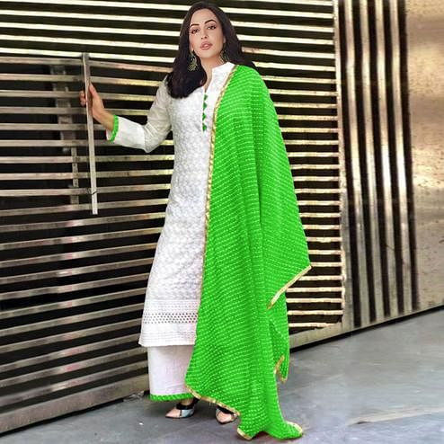 Eye-catching Green Colored Partywear Embroidered Cotton Palazzo Suit